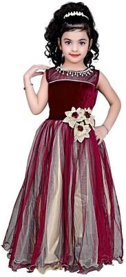 Asr Creation Girls Maxi/Full Length Party Dress(Maroon, Sleeveless)  available at flipkart for Rs.649