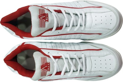 Apex Cricket Spikes Cricket Shoes For Men(White, Red)  available at flipkart for Rs.660