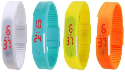 Fashion Gateway White Light Blue Yellow and Orange Led Magnet Band (pakc of 4) Watch  - For Boys & Girls