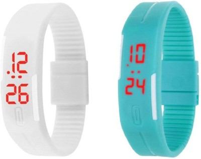 Fashion Gateway White and Blue Led Magnet Band (pack of 2) White and Blue Watch  - For Boys & Girls