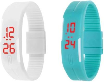 Fashion Gateway N-107 Led Magnet Band (pack of 3) Grey, Blue, White Digital Watch  - For Boys & Girls