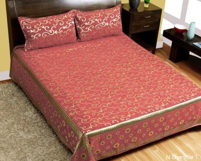 Nine Living 200 TC Velvet Double Floral Bedsheet(Pack of 1, Carrot Pink) at flipkart