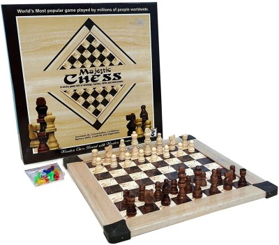 Bonkerz Wooden Majestic Chess With Wooden Chessmen Family Board Game Board Game  available at flipkart for Rs.449