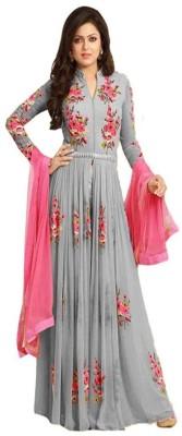 Fashion Surat Georgette Embroidered Semi stitched Salwar Suit Dupatta Material Fashion Surat Dress Materials
