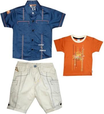 Kooka Kids Boys Casual Shirt Three Fourth Pant(Blue) at flipkart