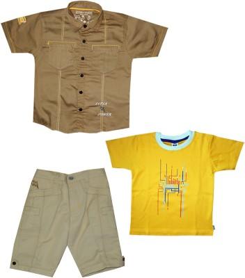 Kooka Kids Boys Casual Shirt Three Fourth Pant(Brown) at flipkart