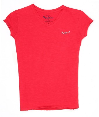 Pepe Jeans Girls Cotton Top(Red, Pack of 1)  available at flipkart for Rs.249