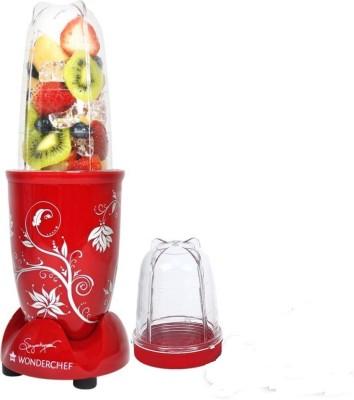 Wonderchef Nutriblend red with free servin glass 400 Juicer Mixer Grinder(Red, 2 Jars)