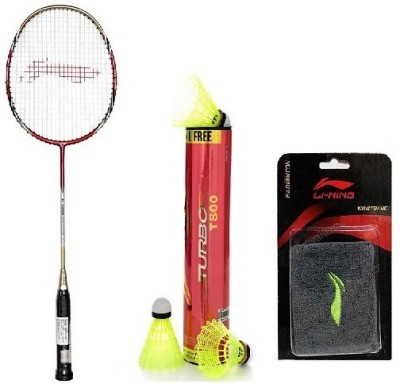 Li-Ning Combo Of Three- 'One 'G-Force Pro 2200i' Badminton racket, ' 'One Turbo T800' Nylon shuttle Cock And One Wrst band Red Strung Badminton Racquet(G4, Weight - 90 g)  available at flipkart for Rs.3990