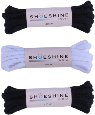 Shoeshine India oval round sports shoelace (W2) pack of 3 pairs Shoe Lace(Multi Set of 3)  available at flipkart for Rs.179