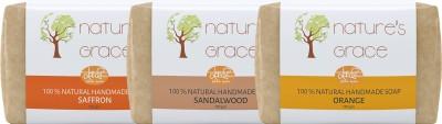 Nature's Grace Handmade Soap Combo Pack 3 (Saffron Sandal Orange)(300 g, Pack of 3)  available at flipkart for Rs.299