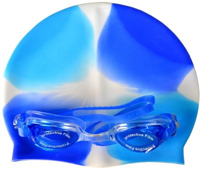 Aurion Swimming Cap And Goggles For Kids Swimming Cap(Blue, Pack of 1)