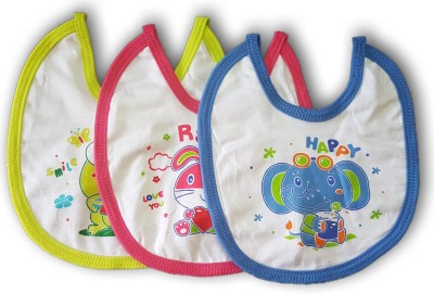 FeatherTouchKids Baby bibs with cartoon prints, Set of 3, with knot(Multicolor)
