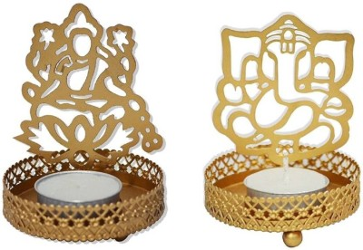 Sayee Diwali Special Laxmi Ganesh Holder Candle Gold, Pack of 2 Candle(Gold, Pack of 2)