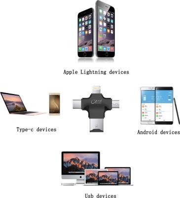 Memore 4 in 1 OTG Card Reader Four ports lightning + Type C + Micro USB + USB Card reader Card Reader(Black)