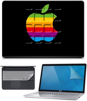 FineArts 3in1 Combo of Premium Quality, HD, UV Printed, Laminated, Protected, Bubble Free, Scratchproof, Washable, Easy to Install Laptop Skin/Sticker/Vinyl/Cover for 15.6 inches on 3M Vinyl with Screen Guard and Key Protector (Apple on Black) Combo Set