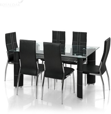 RoyalOak Geneva Glass 6 Seater Dining Set(Finish Color - Black)