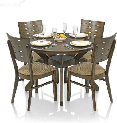 RoyalOak Sydney Solid Wood 4 Seater Dining Set(Finish Color - Brown)