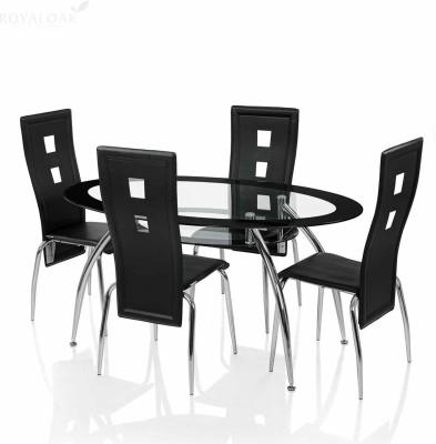 RoyalOak Roger Glass 4 Seater Dining Set(Finish Color - Black)