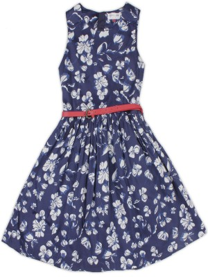US Polo Kids Girls Midi/Knee Length Casual Dress(Dark Blue, Sleeveless) at flipkart
