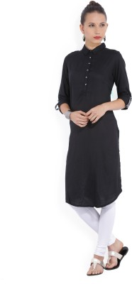 Melange by Lifestyle Women Solid Straight Kurta(Black)