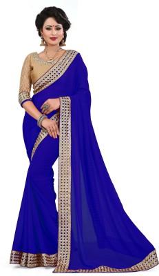 Saumya Designer Embroidered Fashion Faux Georgette Saree(Blue) Flipkart