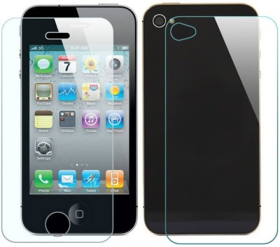 ELEF Front and Back Tempered Glass for Apple iPhone 4(Pack of 2)