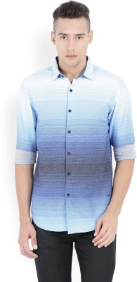 Locomotive Men's Self Design Casual Light Blue Shirt