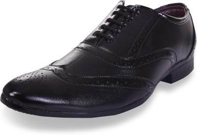 ROAD STAG Men's Broguing Formal Shoes (Black) Lace Up For Men(Black)