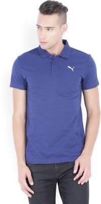 Puma Solid Men's Polo Neck Blue T-Shirt