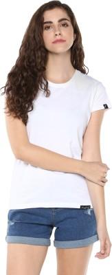 Young Trendz Solid Women Round Neck White T-Shirt