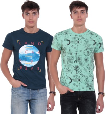 Glasgow Printed Men's Round Neck Multicolor T-Shirt(Pack of 2)