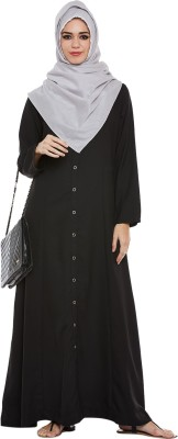 Momin Libas AK25317 polyester Solid Abaya(Black)