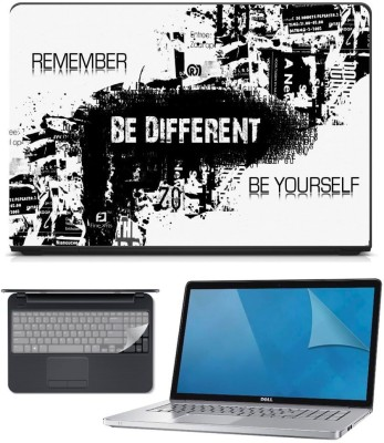 FineArts 3in1 Combo of Premium Quality, HD, UV Printed, Laminated, Protected, Bubble Free, Scratchproof, Washable, Easy to Install Laptop Skin/Sticker/Vinyl/Cover for 15.6 inches on 3M Vinyl with Screen Guard and Key Protector (Be Different 3in1) Combo Set