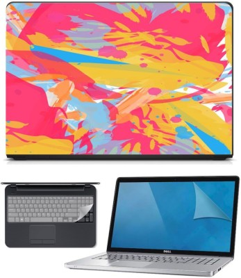 FineArts 3in1 Combo of Premium Quality, HD, UV Printed, Laminated, Protected, Bubble Free, Scratchproof, Washable, Easy to Install Laptop Skin/Sticker/Vinyl/Cover for 15.6 inches on 3M Vinyl with Screen Guard and Key Protector(Pink Abstract 3in1) Combo Set
