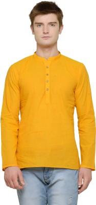 RG Designers Men Self Design Straight Kurta(Yellow)