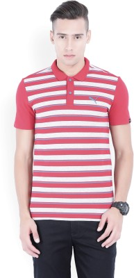 5bda61bc42 30% OFF on Puma Striped Men's Polo Neck Red, Grey T-Shirt on ...