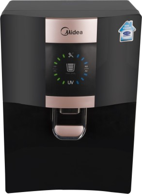 Carrier Midea MWPRU080CL7 Antibacterial Tank & Copper Wellness Replaceable Tank 8 L RO + UV Water Purifier(Black)