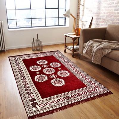 Shobhraj Maroon Chenille Carpet(151 cm  X 231 cm) at flipkart