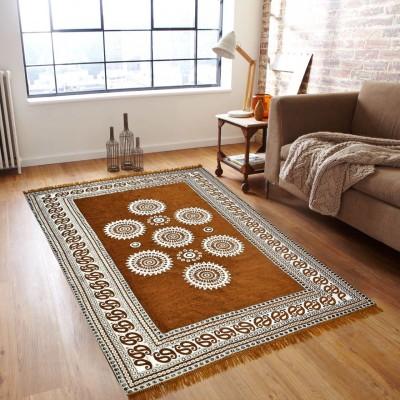 Rudra Decor Orange Velvet Carpet(150 cm  X 210 cm) at flipkart