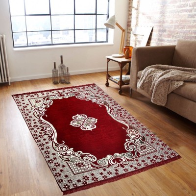 Shobhraj Maroon Chenille Carpet(152 cm  X 213 cm) at flipkart