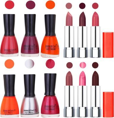 Aroma Care Wholesale Rate Combo of Nail Polish and Rythm Lipstick 596(Set of 12)