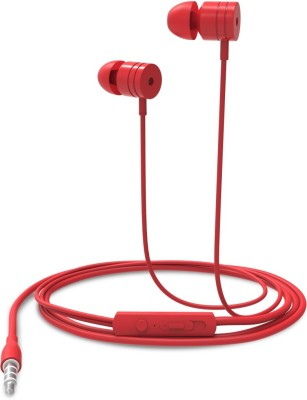 Portronics POR-765 Conch 204 (Red) In-Ear Stereo Headphone having 3.5mm Aux port, In-Line high Quality mic, Soft silicon Ear-buds for great bass effect Wired Headset with Mic(Red, In the Ear)