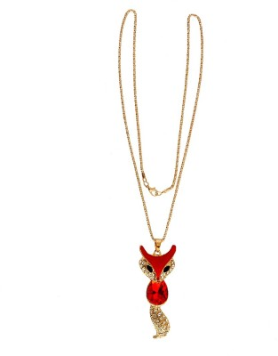 One Point Collections Crystal Designer Gold Plated Cat Long Chain Necklace Choker for Girls and Women Red Color Alloy Pendant