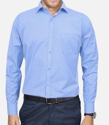 Lamando Men's Solid Formal Blue Shirt