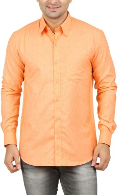 LEAFLIME Men's Solid Formal Orange Shirt