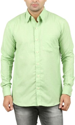 LEAFLIME Men's Solid Formal Green Shirt