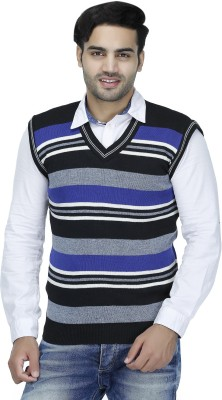 Christy's Collection Striped V-neck Casual Men's Blue Sweater
