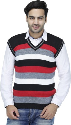 Christy's Collection Striped V-neck Casual Men's Multicolor Sweater