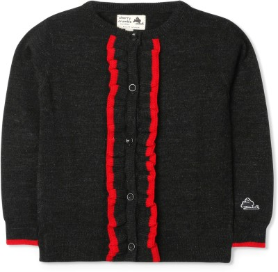 Cherry Crumble California Self Design Round Neck Casual Baby Girl's Black Sweater